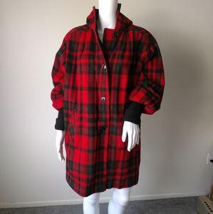 Vintage Buffalo plaid wool coat jacket sz L/XL?
